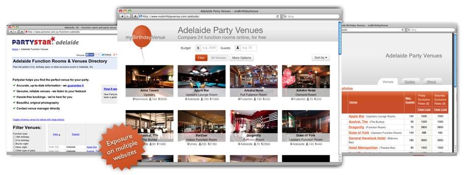 Partystar and myBirthdayvenue websites