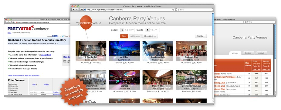 Partystar and myBirthdayvenue websites