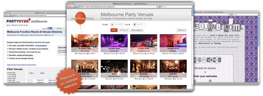 Partystar, myBirthdayVenue and 21Melbourne websites